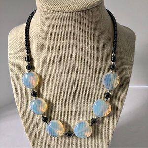 "Jewelry - Opalite 18"" Necklace Graphite Color Beads"